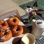 fresh doughnuts and coffee