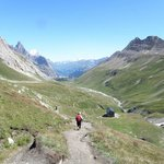 Making our way down from Col de la Seigne into Italy
