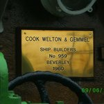 Ship Builders brass Plate.