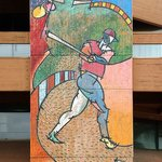 Two-story mural at ASAMA of Jackie Robinson breaking the color barrier in MLB