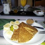                    My breakfast ....thin delicious pancake that reminds me of Mom&#39;s.