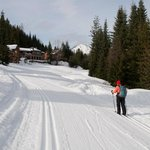                    xc skiing on the groomed trail leading to Nason Ridge