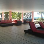  covered relaxation area adjacent to pool - overlooking the water