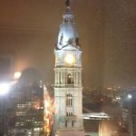 Philly at night, it's snowing!  view from room 2502
