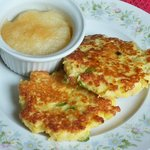 Crispy potato & onion pancakes with applesauce