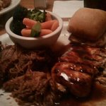 Pulled Pork with BBQ Chicken & Vegetables. It was the best I've had.