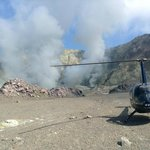 Helicopter landed on White Island