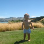                    our son enjoying the grass