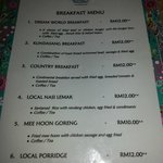 Breakfast menu, very 1 star quality.