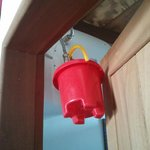 Bucket used to collect water from the leaking boiler. Provided by Villa Amatis