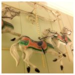 The Antique Carousel above our bed, so whimsical.