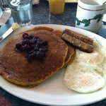 pumpkin pancakes with cranberries