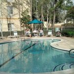                    Pool &amp; Hot tub patio area @ hotel
