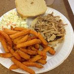kids portion pork sandwich, sweet potato