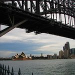 The view of Sydney Opera House and Harbour Bridge from Milsons Point.