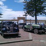 Waterfront with Vintage cars