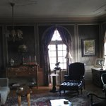                    Stunning front room; original silk wallcoverings/drapes!