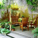Outdoor sitting areas, perfect for reading, enjoying a beverage or viewing the gardens