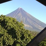 Mt. Mayon early morning view from the balcony of Balay de la Rama