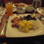 Brakefast:: sausage, tapa combination; your choice.,