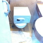 portable safety deposit box on the toilet.