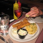 Fish Fry with cheese potato cole slaw tartar sauce and squeezen  the lemon