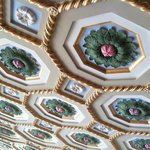                    Coffered ceiling of lobby and dining room