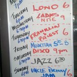 Nightly entertainment board in Paddlers Inn