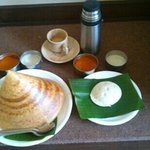delicious south Indian breakfast served at the hotel
