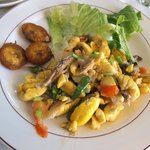 Saltfish and ackee for breakfast at Ashton Great House and Hotel in Black Rive