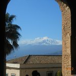                    Snow covered Etna from Greek Theater, Taormina, Sicily