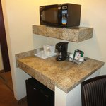 Microwave and coffee area (there is a fridge below)
