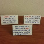 Extra Charges signs you'll find scattered around your room. Could they be more