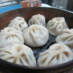 "steamed dumplings ""momo's"" from Tibetan Mobile in Jackson Heights"