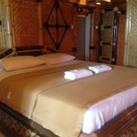 The king size bed in the sea view room