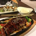 bay roll & beef teriyaki