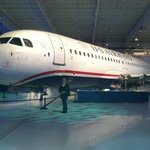                    USAir Flight 1549 reassembled for museum display