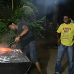 Shaan and Sony preparing a wonderful barbeque