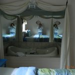 jacuzzi tub alcove in bedroom. Wrap around mirrors.
