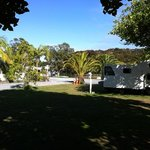 our camper park under a tree close to the water and the pool.