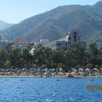                    view of hotel Aqua from short boat trip to Marmaris
