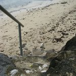 Stairs from property to beach.