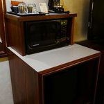 coffeemaker, microwave and mini-fridge