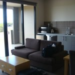 Sitting/kitchen area - tastefully furnished but couch not comfortable - too soft