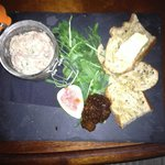 Pork Rillettes (basically, just a very nice pâté) - With sourdough toasts, unsalted butter and f