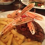 Steak & Langoustine in the grill at the Royal Hotel, Campbeltown.