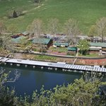 An aerial view of Lilleys&#39; Landing - between a bluff and pasture!