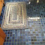Blue Tile Floor in Dartford Guest Room Bathroom
