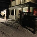                    Cottage Inn in winter, at night.