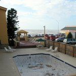 Pool area, & view to beach & Denny's